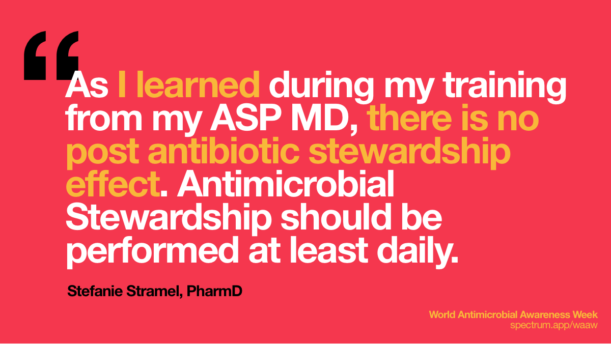 As I learned during   my training from my ASP MD, there is no post antibiotic stewardship effect.   Antimicrobial Stewardship should be performed at least daily.